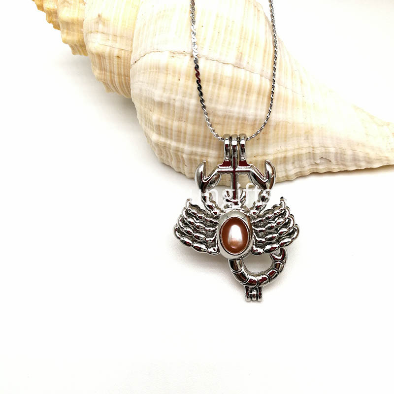 Scorpion Shape Pearl Bead Cage Pendant Necklace