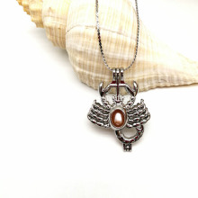 Silver Scorpion Shape Pearl Bead Cage Pendant Necklace