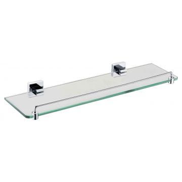Porta-estante de vidro com grade cromada