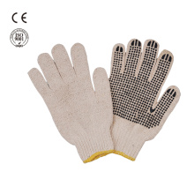 safety work knitted cotton gloves with pvc dotted