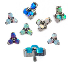 ASTM F136 Titanium Bezel Set Jóias Substituição Sintética Azul Opala Tops Piercing