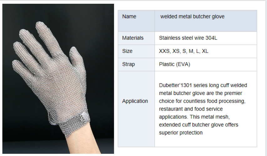 long cuff hands and arm protection welded metal butcher glove