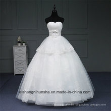 Strapless Dress Beading Crystal Wedding Dress Sleeveless Peals Lace up