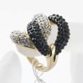 wholesale rhinestone studded flower shape gold plated zinc alloy finger ring