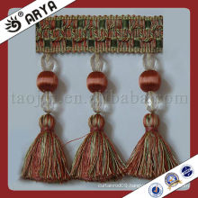 Woven Beads Tassel Curtain Trim Lace tassel fringe ,used for drapes,cushions,curtain and accessories,made in China