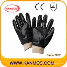 PVC negro sumergido mano industrial guantes de trabajo de seguridad (51203)