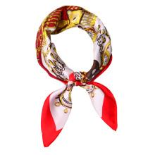 Latest design 90*90cm fashion women stocked designs handmade twill silk scarf shawl