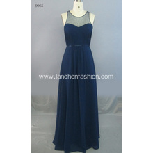 Round Collar Illusion Beaded Sleeveless Bridesmaid Dress