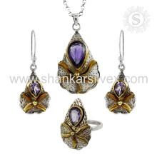 Majestic Purple Handmade Prata Jóias Amethyst Jóias Set Indian Silver Jewelry Supplier