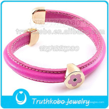 PU Leather Bangle Pink Enamel Flower Pendant Rose Gold Stainless Steel Clap Leather Bangle