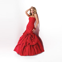 Fashion Trumpet Mermaid Strapless Floor-length Taffeta Gaun Ruffled untuk Eropa