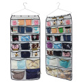 Hanging Closet Organizer With Dual-sided 42 transparent Pockets for Underwear Bra Gloves Socks