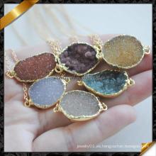 Collar de concha de ágata de piedras preciosas con cadena, collar de la joyería de moda druzy (fn090)
