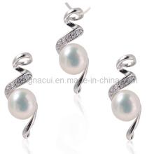AAA água doce colar de pérolas conjuntos de jóias com pedra de zircônia cúbica