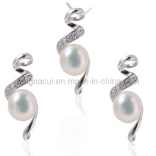 AAA пресной воды жемчужиной ожерелье ювелирные наборы с кубическим циркониевым камнем