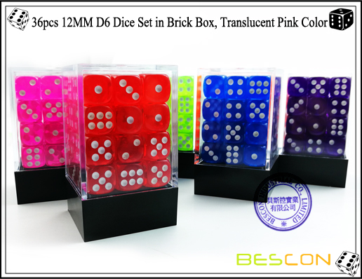 36pcs 12MM D6 Dice Set in Brick Box, Translucent Pink Color-5