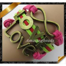 Bracelet en cuir de charme pour femmes, fille (FB0118)