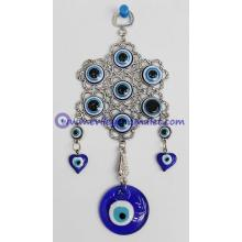 Evil Eye Wall Hanging Amulet Handmade Silver Plated Glass Bead