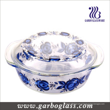 9 '' tigelas de vidro de cozimento Pyrex com design de decalque (GB13G13265-TH)