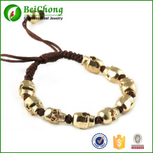 Fashion North Skull Bracelet Rope Woven Braid Gold Alloy Skull Bracelet Bangle