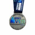 Venda de medalhas de impressão em metal prata personalizadas
