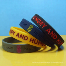 Sports Fitness Silicone Bracelets Debossed Fill Color Logo Basketball Silicone Wristbands Baller