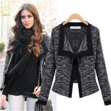 Moda feminina magro botão colarinho casual negócio blazer terno (50010)