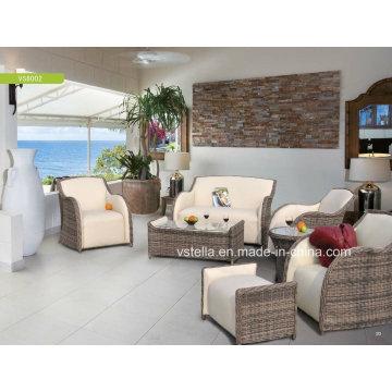 Alta qualidade PU Casa de couro e Jardim Rattan Sofá