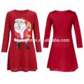 Ropa al por mayor de la manera larga de la familia del color rojo de la manera que empareja la alineada de las mujeres de la Navidad del vestido de Papá Noel de la impresión