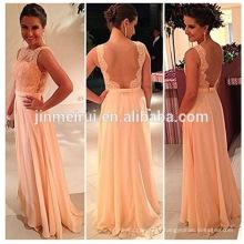 Free shipping!High quality nude back chiffon lace long peach color bridesmaid dress brides maid dress