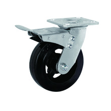 Caucho resistente con ruedas de hierro Freno total
