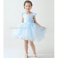 Первые Платья Детские Голубой Причастие Для Девочек Cap Рукавом Бальное Платье Цветочница Платье С Большим Бантом
