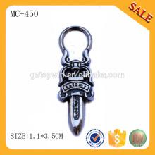 MC480 Tag personalizado do metal do logotipo do projeto da forma para a roupa, etiqueta do cair do metal para o saco