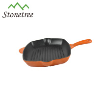 Wholesale New Cookware Red Square Cast Iron Enamel Grill Pan