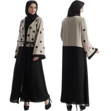 Vente chaude Moyen-Orient, les femmes portent des matériaux de coton premium lin brodé floral Abaya