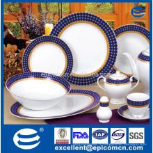 Table de salle à manger en porcelaine super blanc ronde en or 57pcs