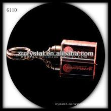 LED-Kristall-Schlüsselanhänger mit 3D-Laser graviert Bild innen und leer Kristall Schlüsselanhänger G110