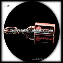 Keychain en cristal de LED avec l'image gravée par laser 3D à l'intérieur et le keychain en cristal blanc G110