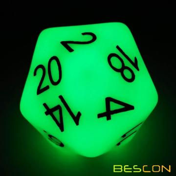Bescon Jumbo Glowing D20 38MM, Tamaño grande 20 lados Dados Jade Glow In Dark, Big 20 Faces Cube 1.5 pulgadas