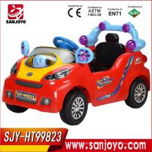 Juguete de la batería del coche de la música eléctrica cuatro ruedas R / C batería en el coche de la historieta del bebé con el coche de juguete ligero de la exportación HT-99823