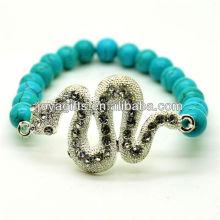 Türkis 8MM runde Perlen Stretch Edelstein Armband mit Diamante Schlange
