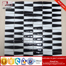 chinesischer Lieferant Strip gemischt schwarz und weiß Glasierte Kristallglasmosaikfliese