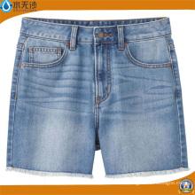 Pantalones cortos de los pantalones vaqueros de la cintura alta de las mujeres de la manera de la moda de verano