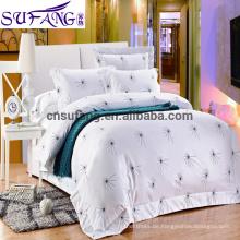 Alibaba China suppiler lange Heftklammer-Baumwollbett stellt Bett-Blatt, luxuriöse Bettwäsche-Sätze, Hotel-Motel-Bettwäsche ein