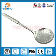 long-handled stainless steel kitchen cooking spoon