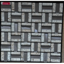 Stainless Steel dan White Foil Glass Mosaic