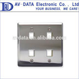 2-Gang Stainless Steel Keystone Wall plate with 4 port