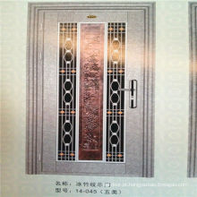 Design de porta interior de aço inoxidável de baixo preço de segurança com flor de alumínio