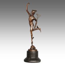 Estatua de la mitología Estatua antigua Escultura de bronce Mercury / Hermes TPE-798