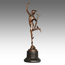 Mythology Figure Antique Statue Mercury/Hermes Bronze Sculpture TPE-798
